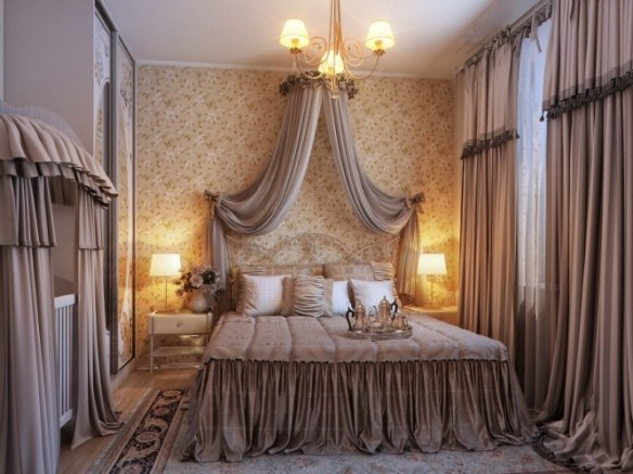 By Irena Dramatic curtain swags and dust ruffles take these spaces to the extreme of boudoir styling, probably on the fussy side for a lot of people, but for a traditionalist this will make you want to pad about in marabou slippers with a cheeky glass of champagne in hand!