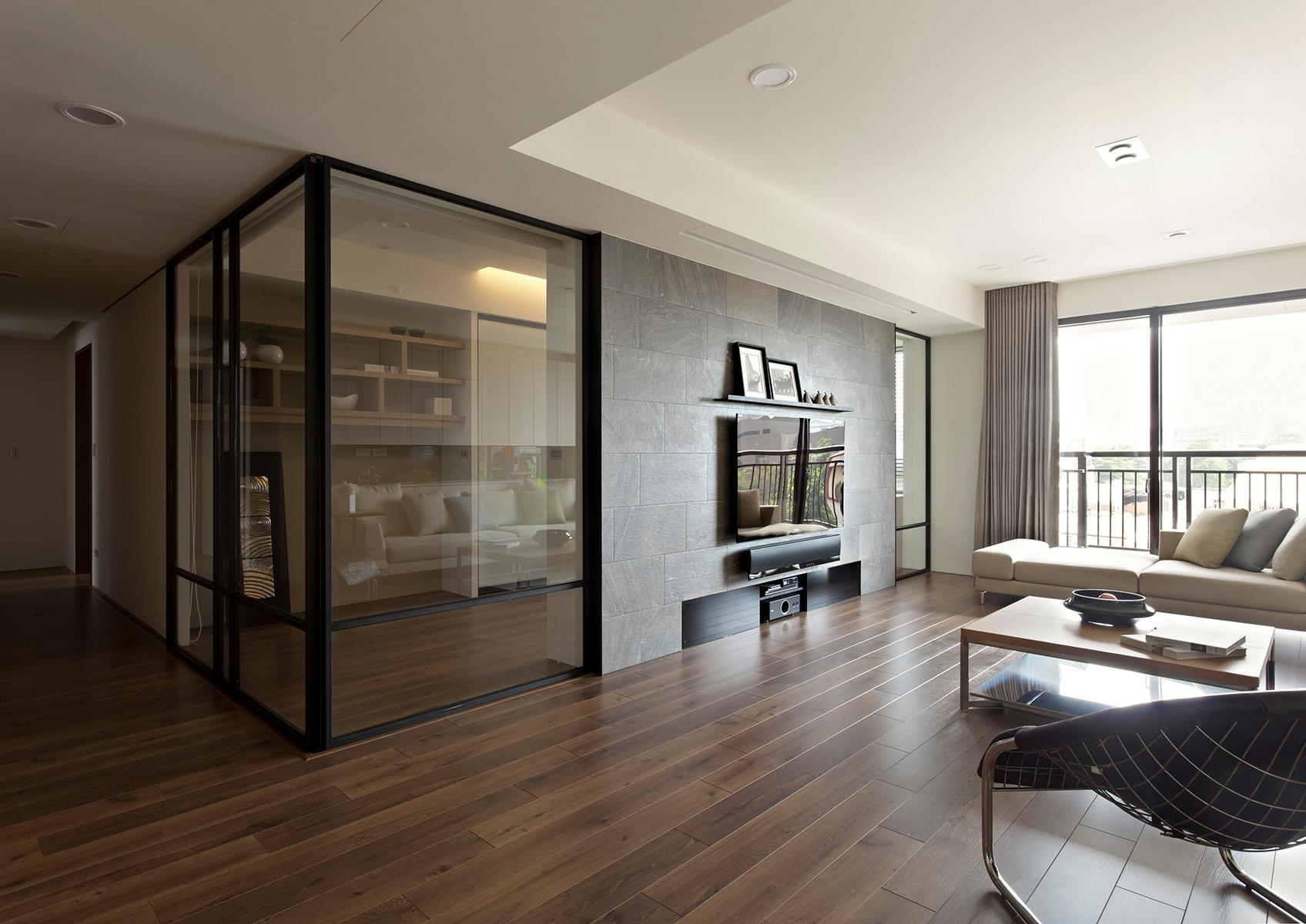 Open Glass Wall Apartment With A Retractable Interior Wall