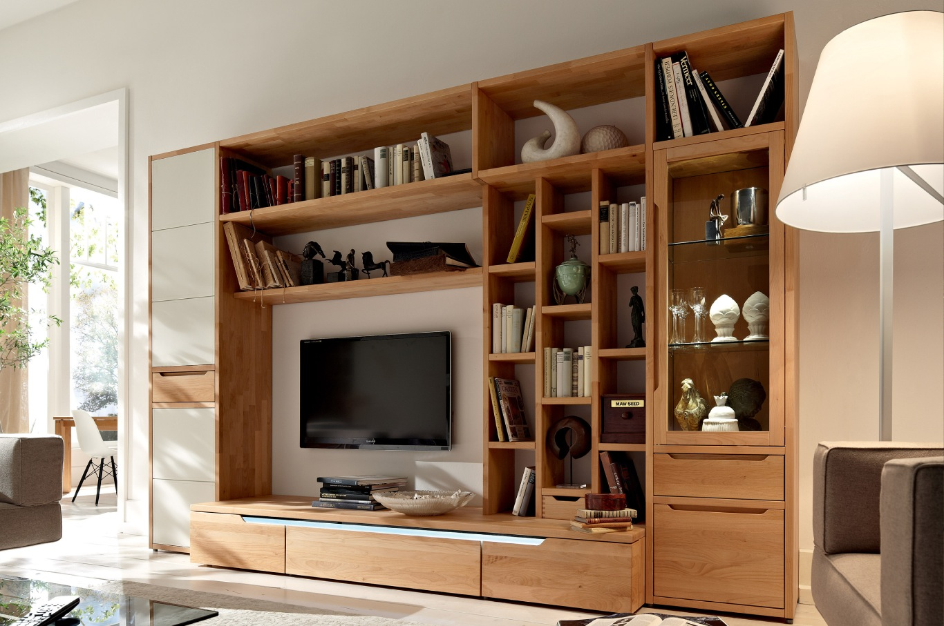 Large Wall Units For Living Room Wooden Finish Wall Unit Combinations From Hülsta