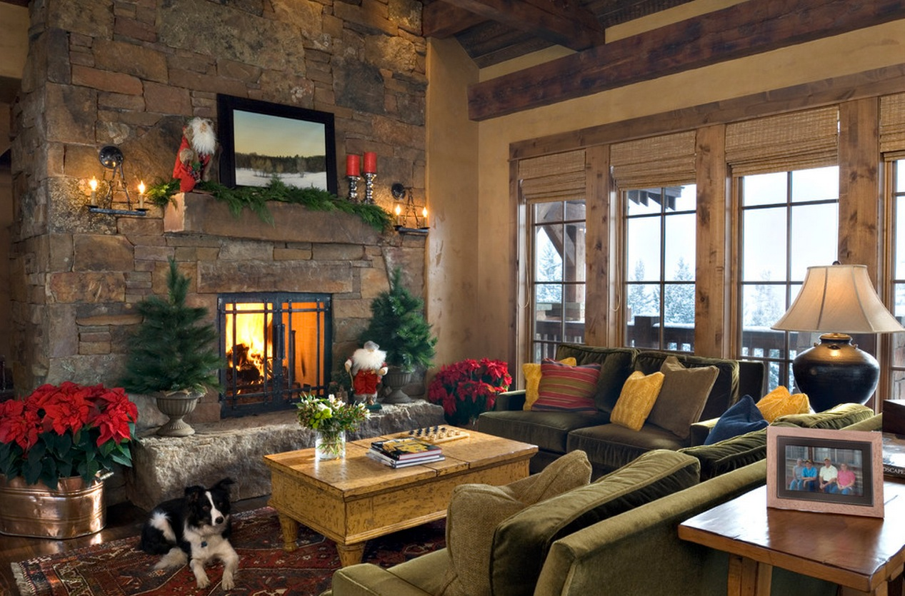 Christmas Interior Design Lodge Christmas Mantel Decor Interior Design Ideas
