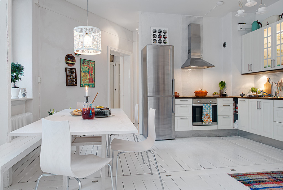 swedish white heirloom apartment small eat kitchen transitional home design photos