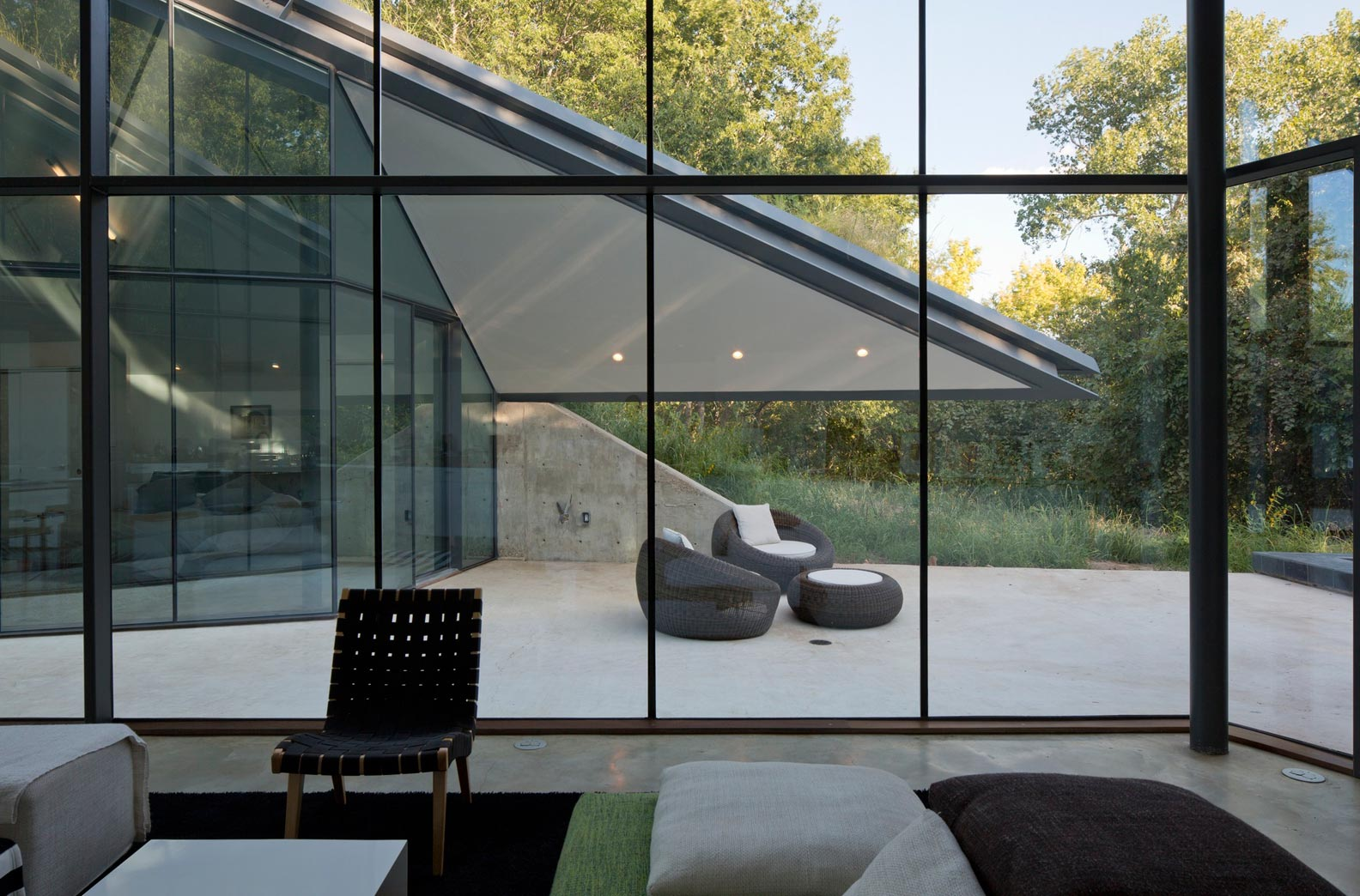 Glass Wall Interior Paneled Glass Walls Of Pit House Outdoor Interior Design