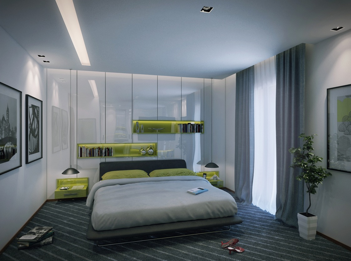 Contemporary apartment bedroom
