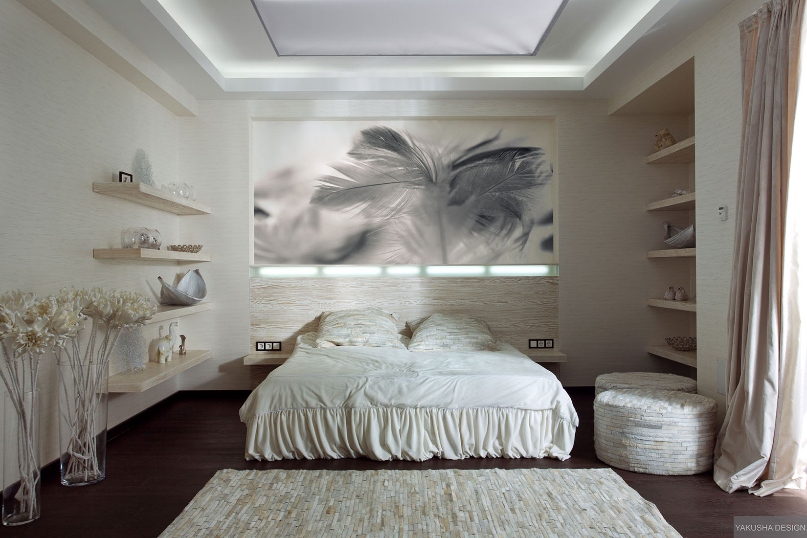 Pictures Wall Decor Ideas Textured White Bedroom With Collectables Displayed On