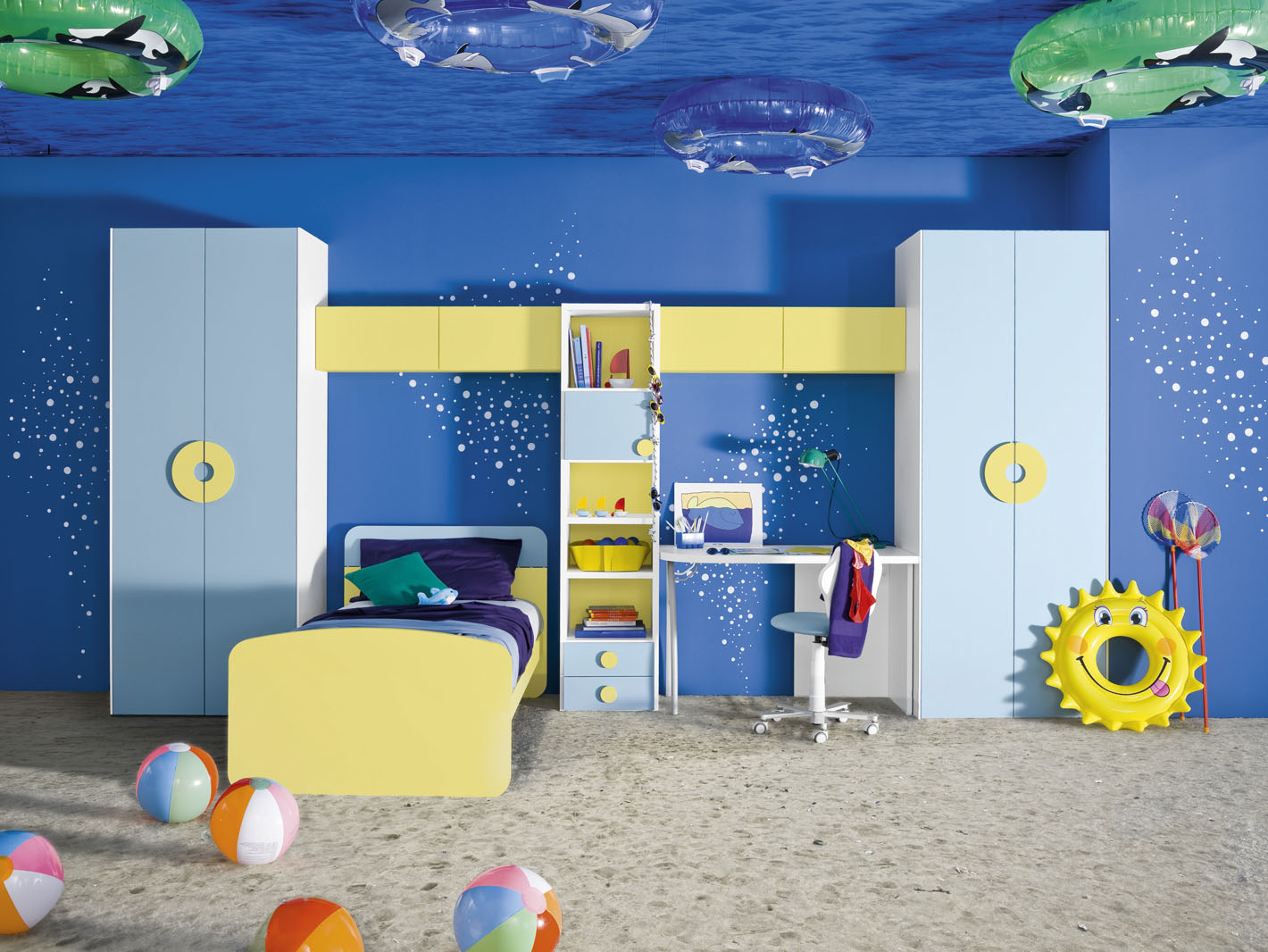 Blue And Yellow Living Room Decor Underwater Themed Blue And Yellow Boys Room Interior