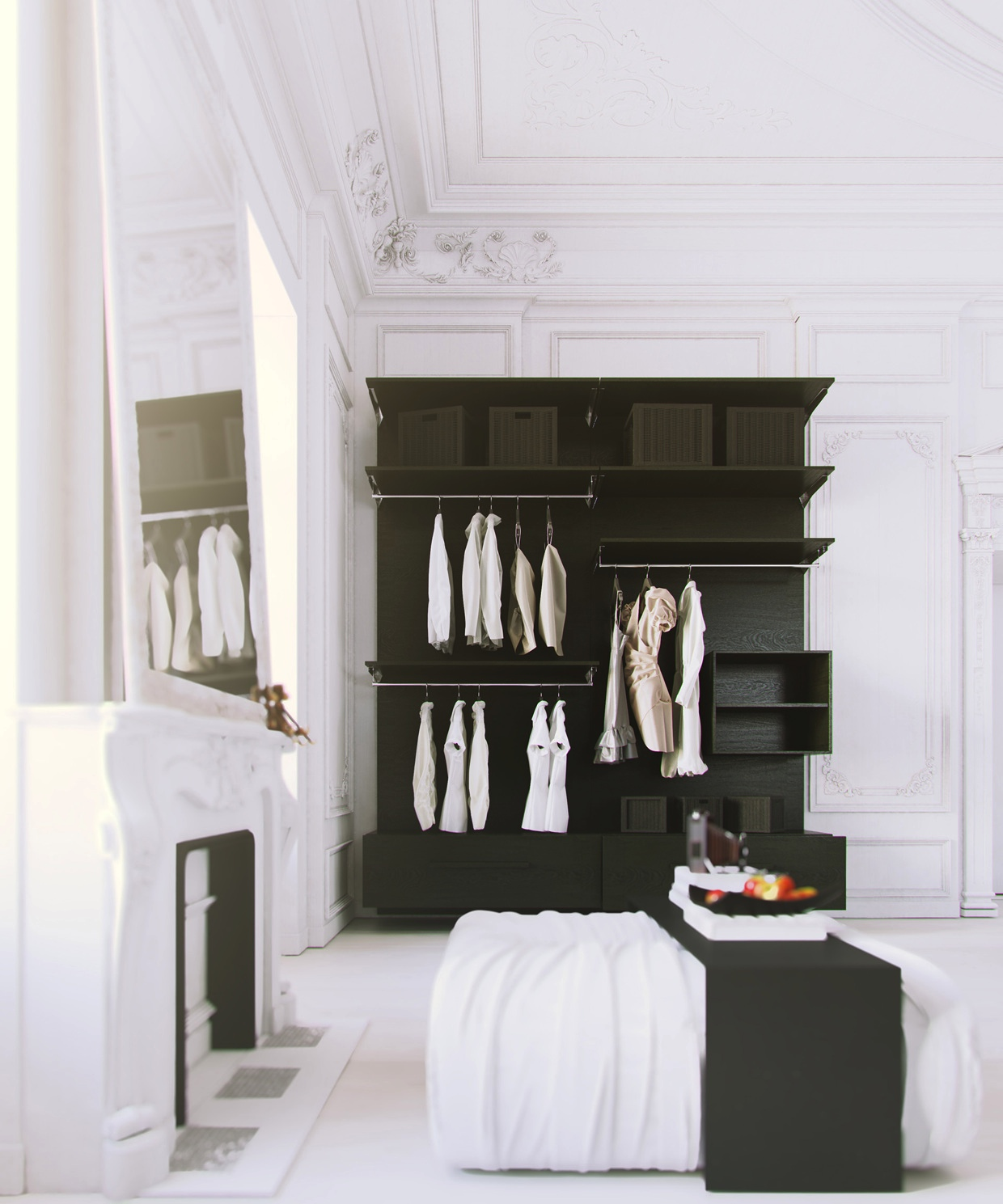 Bedroom Clothes Storage Parisian Apartment- White Bedroom With Black Clothes