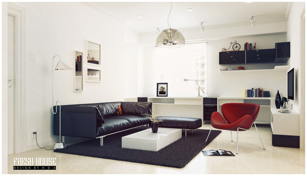 Black White Living Room Red Accents Interior Design Ideas. SaveEnlarge ·  100 ...