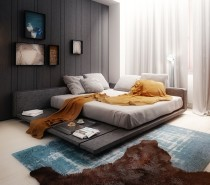Leks Architects Kiev Apartment- double day bedroom in complementary palette with layered rugs