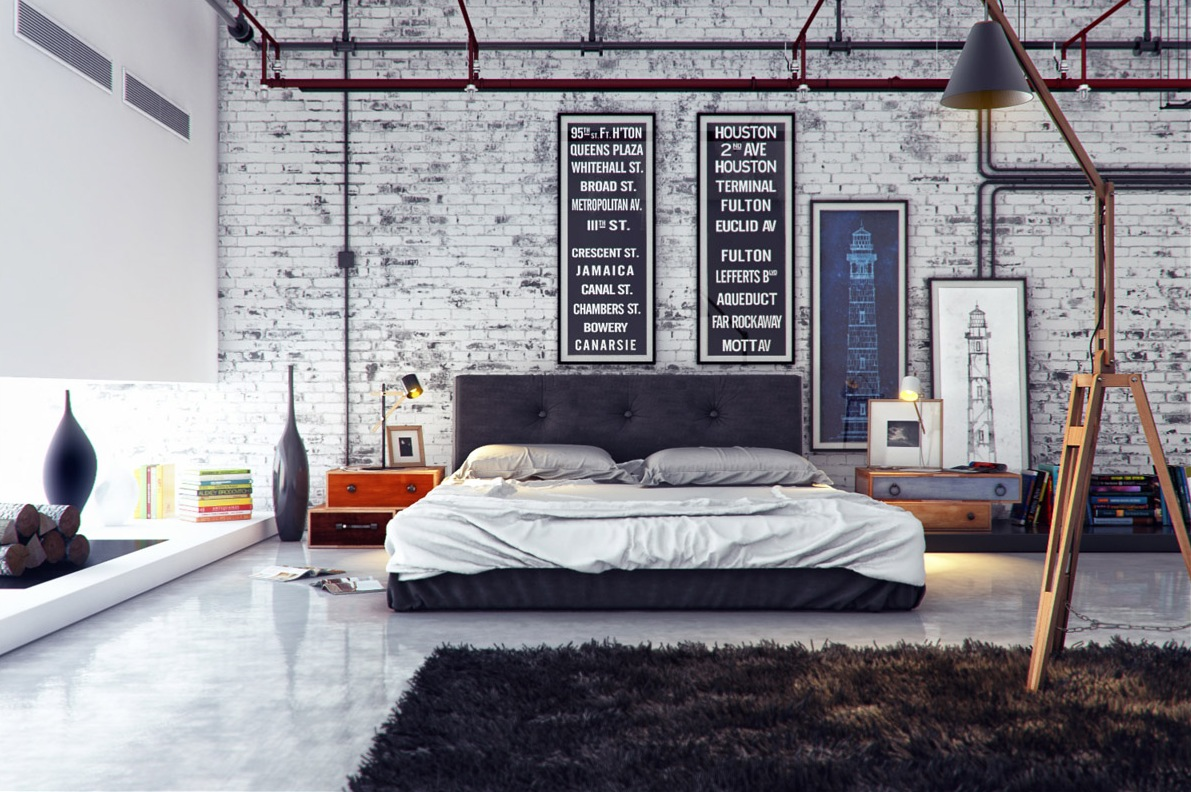 Interior Bed Room Design Industrial Bedroom 1 Interior Design Ideas