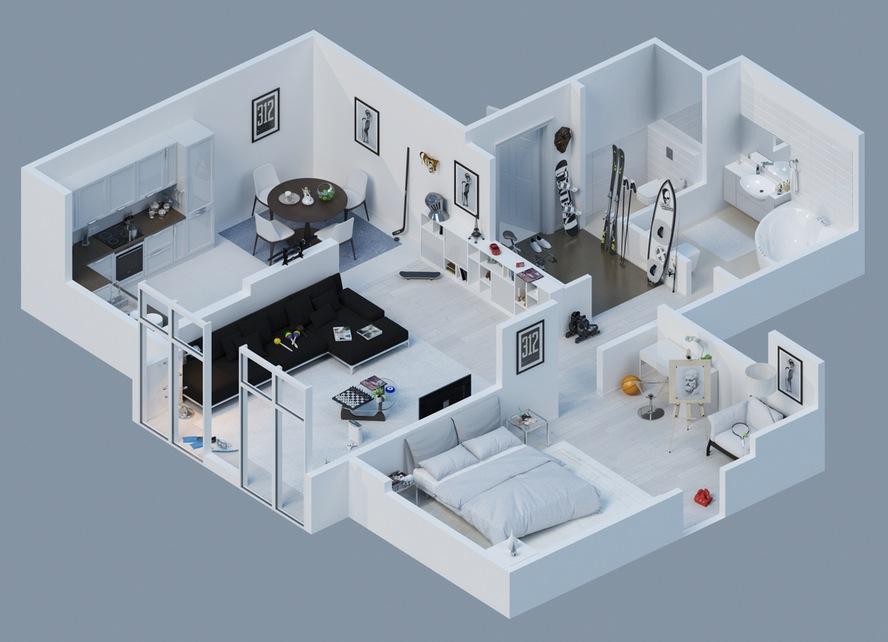 3d Apartment Layout Interior Design Ideas