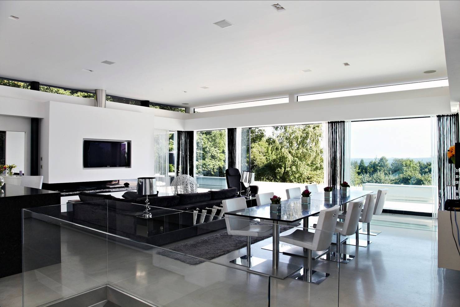contemporary home open panoramic views house white interiors