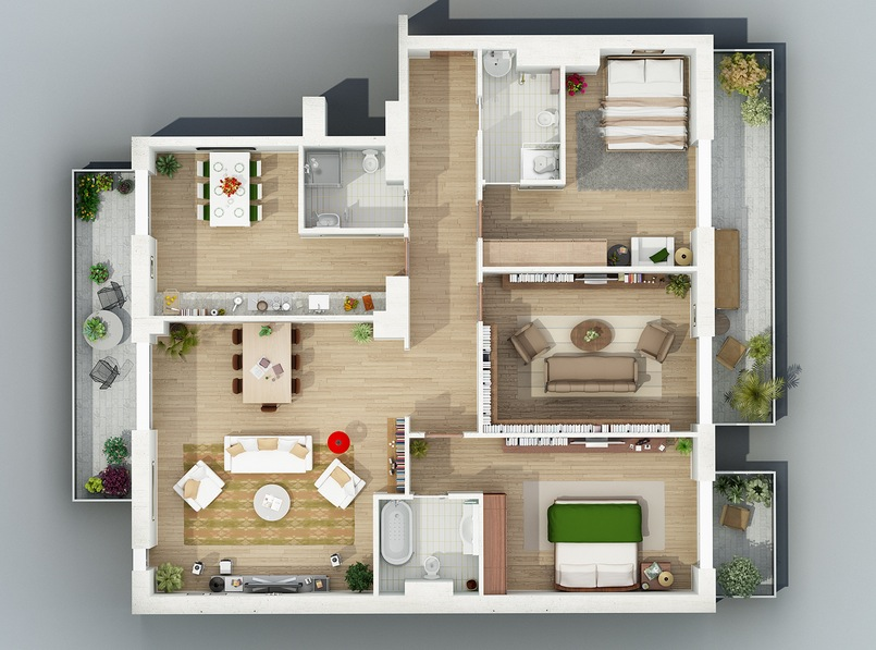 Denah Rumah Ukuran 8x10 3 Kamar Tidur Apartment Designs Shown With Rendered 3d Floor Plans