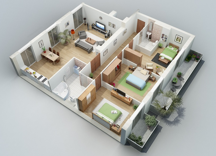 Denah Apartemen 2 Bedroom Apartment Designs Shown With Rendered 3d Floor Plans