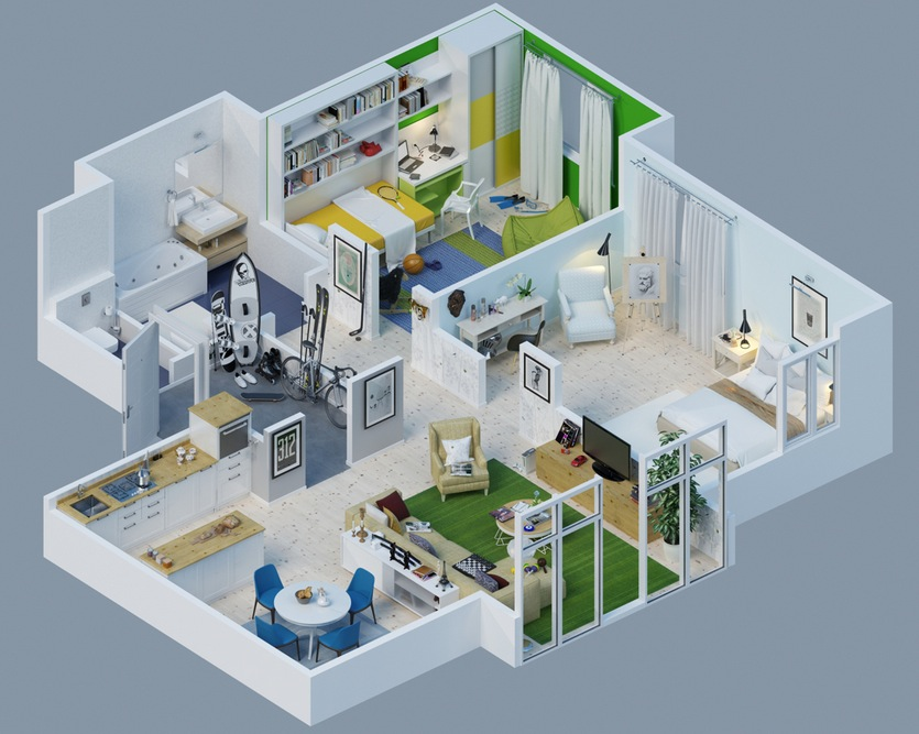 Apartment Designs Shown With Rendered 3D Floor Plans - 3d house plans
