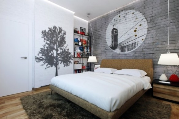 Rather than hang art on the walls, this bedroom lets the walls become art with a brick stencil over the headboard and a shadow tree painted by the door. Leaving the walls essentially bare is another way to give the illusion of more space.