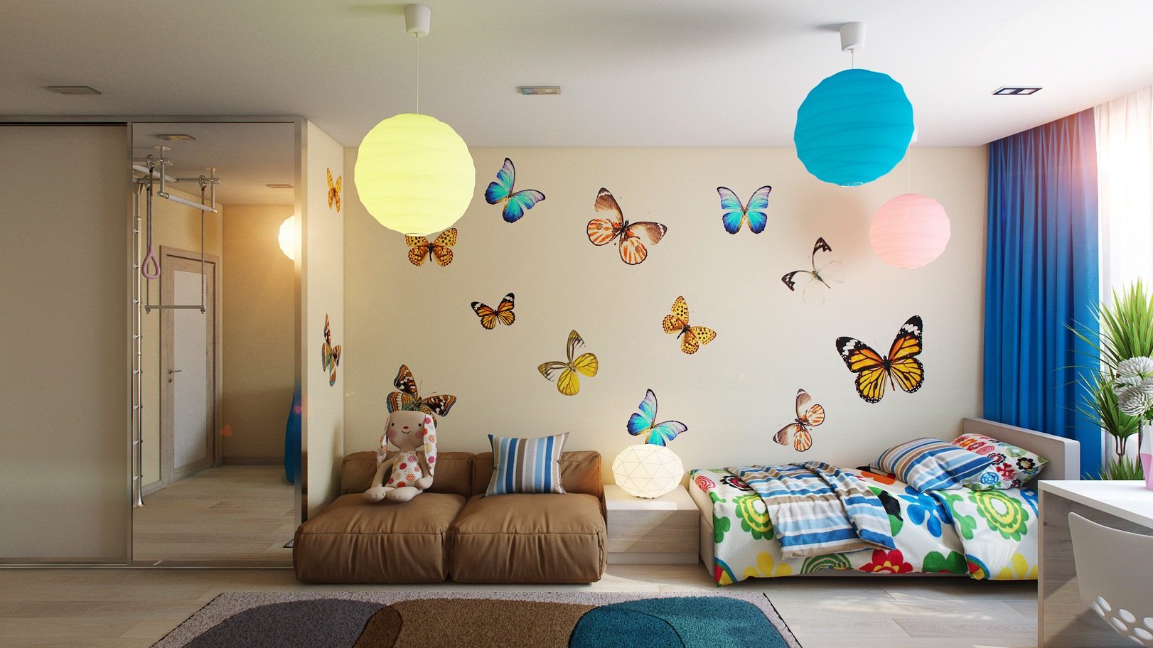 Butterfly Bedroom Themes Casting Color Over Kids Rooms