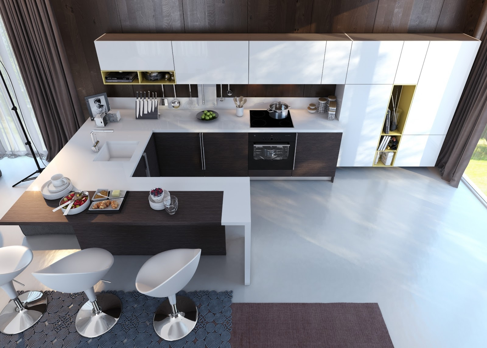 U Shaped Kitchen Designs With Breakfast Bar Kitchens With Contrast