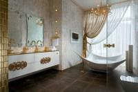 Gold white bathroom decor | Interior Design Ideas.
