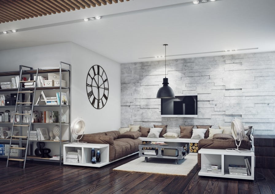 Industrial Style Living Room - Home Design - industrial living room ideas