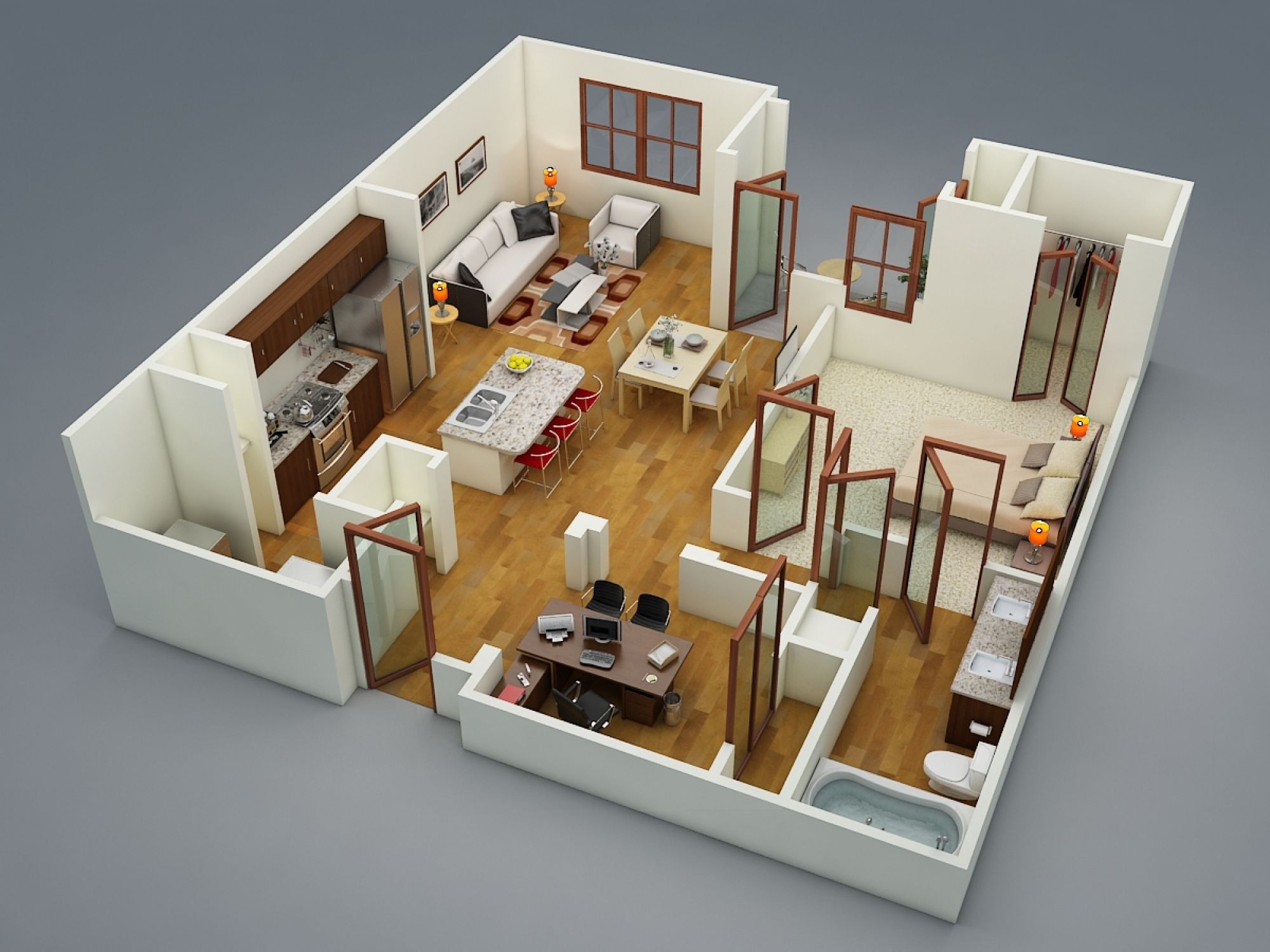 1 Bedroom 2 Bathroom House Plans 1 Bedroom Apartment House Plans