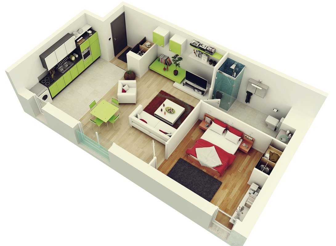 House Plans With Interior Photos 1 Bedroom Apartment House Plans