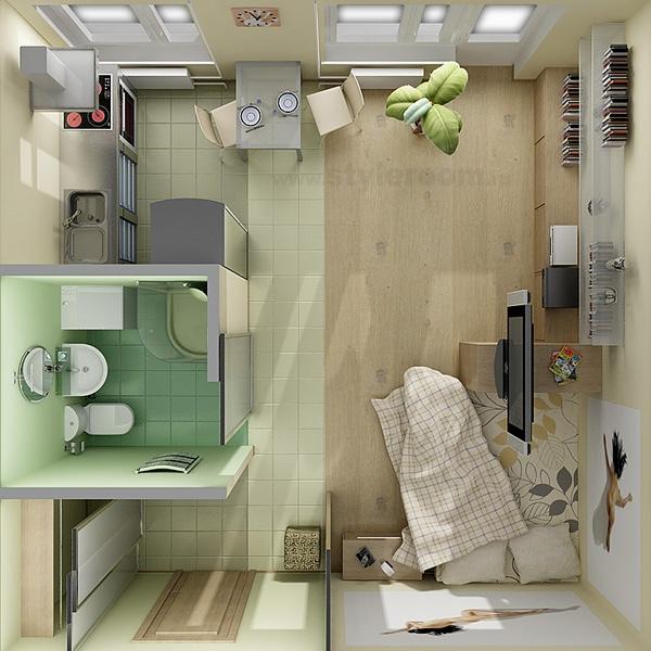 Studio Apartment Floor Plans - Efficiency Apartment Design