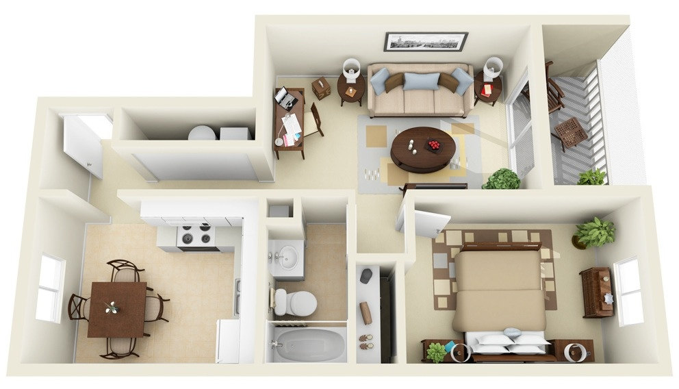 1 Bedroom Apartment\/House Plans Idrus Personal Website - bedroom living room combo