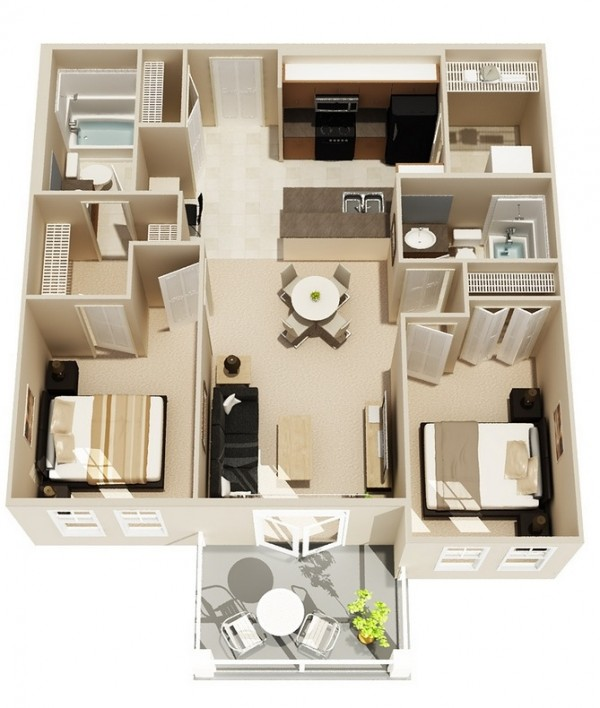 2 Bedroom Apartment/House Plans - Apartment House Plans
