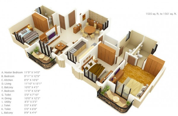 3 Bedroom Apartment\/House Plans - 3 bedroom house plans