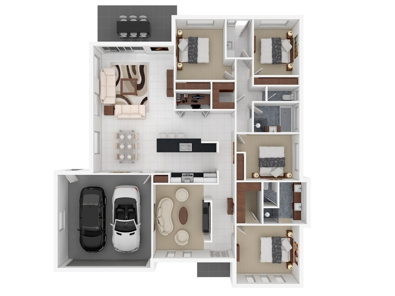 4 Rooms 4 Bedroom Apartment/house Plans