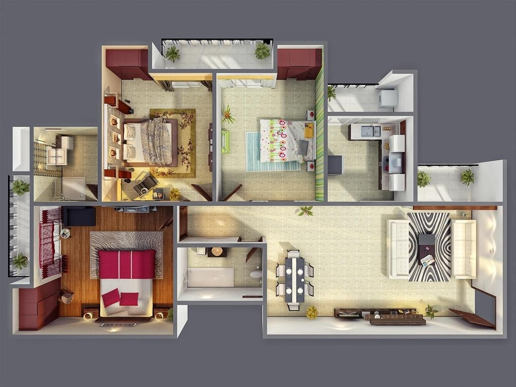 Www.home Design 3 Bedroom Apartment House Plans
