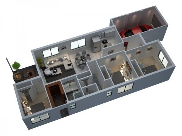 3 Bedroom Apartment\/House Plans - 3d house plans
