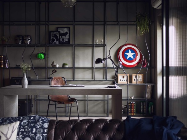 Square Glass Coffee Table Fabulous Marvel Heroes Themed House With Cement Finish And