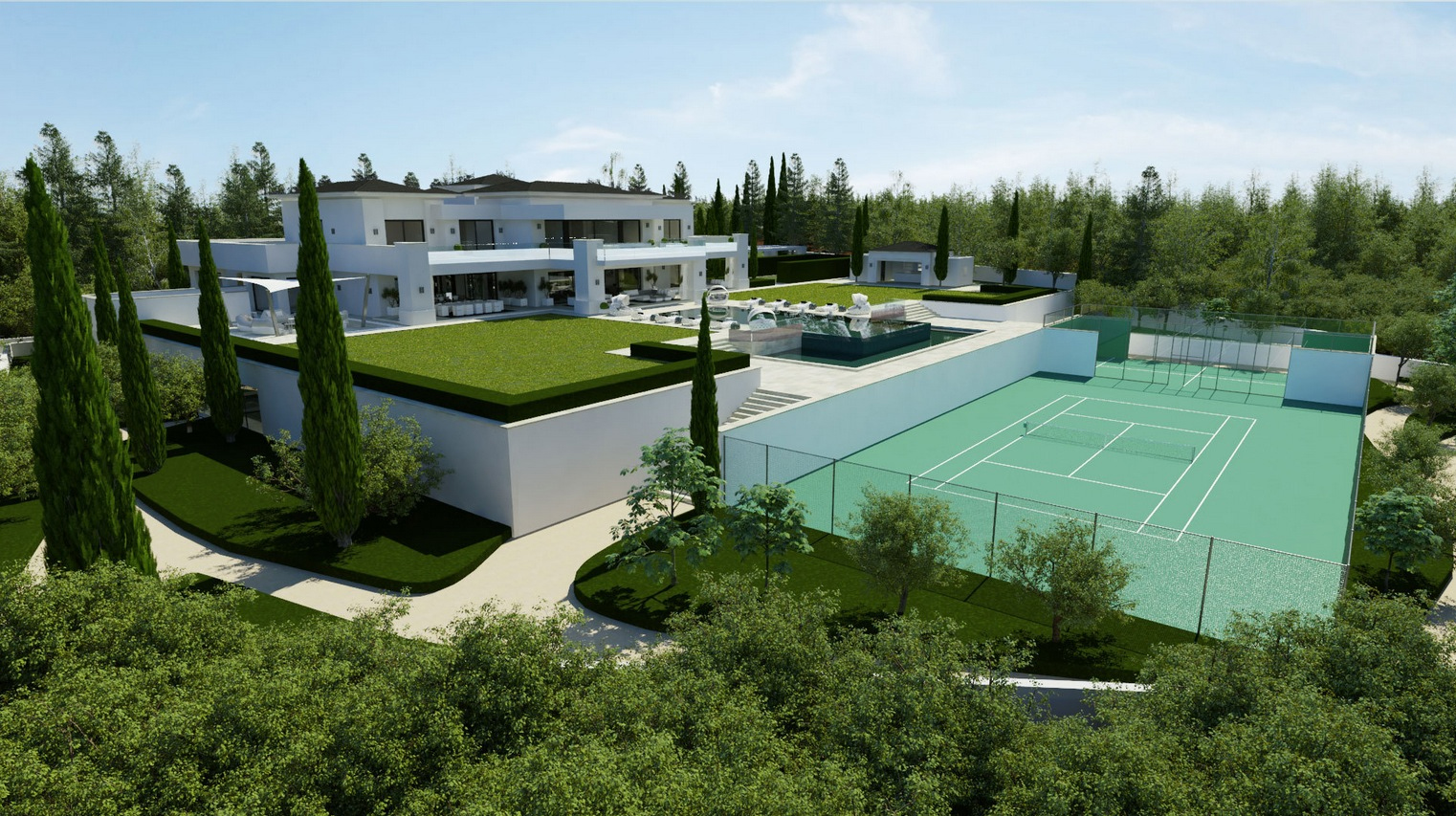 Maison Futuriste Ecologique Private Tennis Court Interior Design Ideas