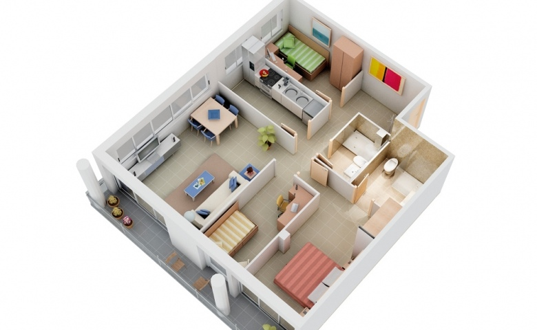 Kamar Anak Laki2 3 Bedroom Apartment/house Plans