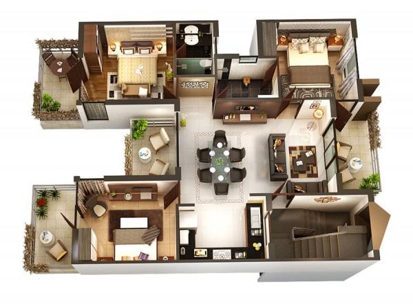 Duplex 3d plan 3D Plans Pinterest 3d, Sims and House