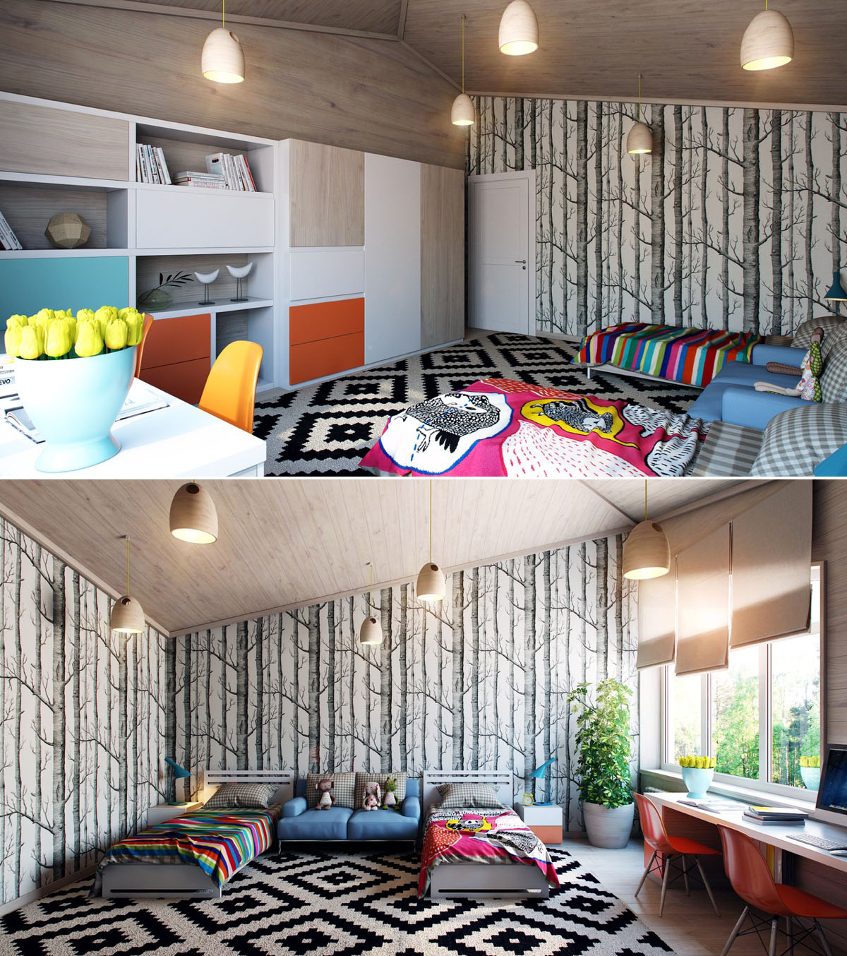 Dark Cozy Girl Wallpaper Bright And Colorful Kids Room Designs With Whimsical