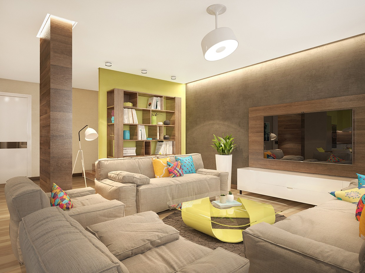 Moderne Wohnzimmer Stehlampen Stylish Family Home Features Bright Tropical Colors