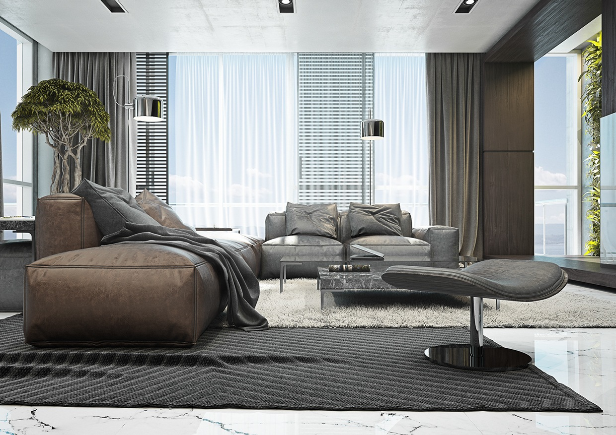 Ledersofas Design 4 Masculine Apartments With Super Comfy Sofas And Sleek