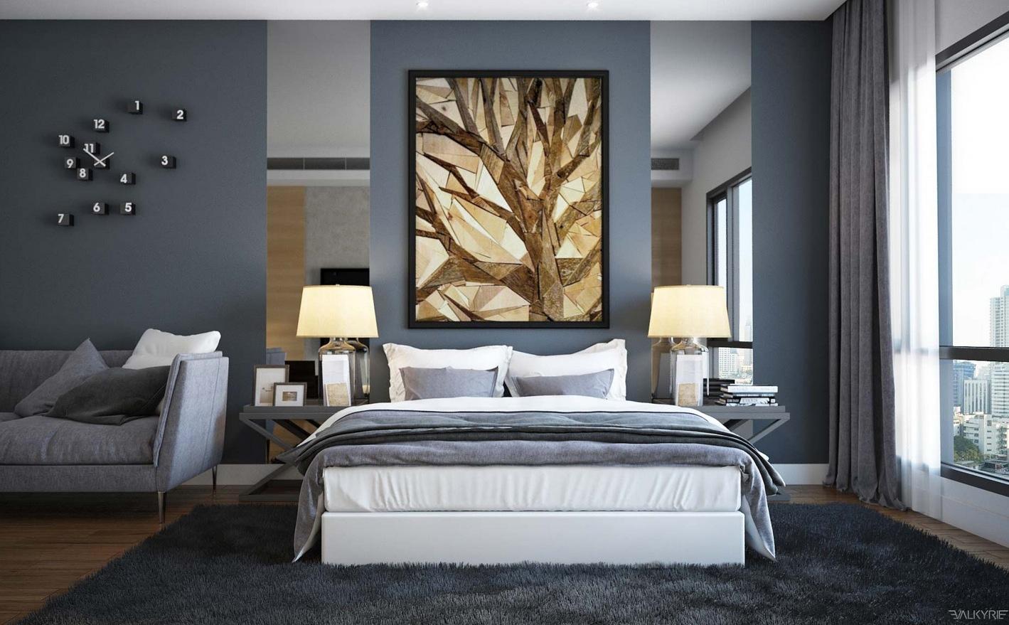 slate gray walls cozy area rug bedroom snuggly bedrooms philip house