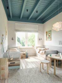 teal-ceiling-beams | Interior Design Ideas.