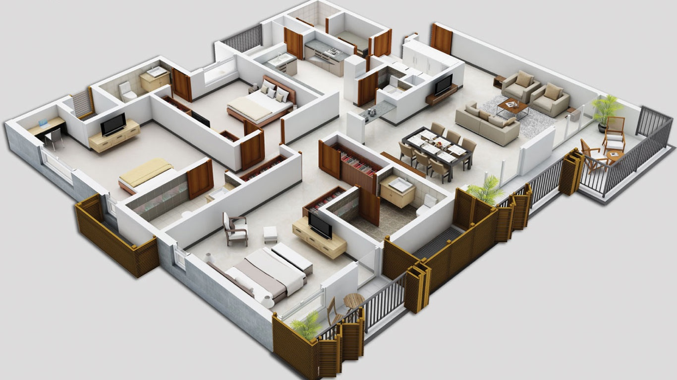 3d Planer 25 Three Bedroom House Apartment Floor Plans