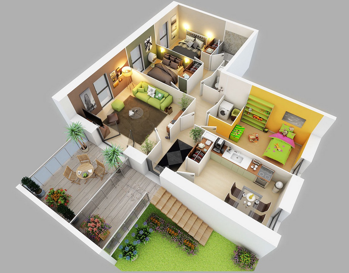 3d Home Decor 25 Three Bedroom House Apartment Floor Plans
