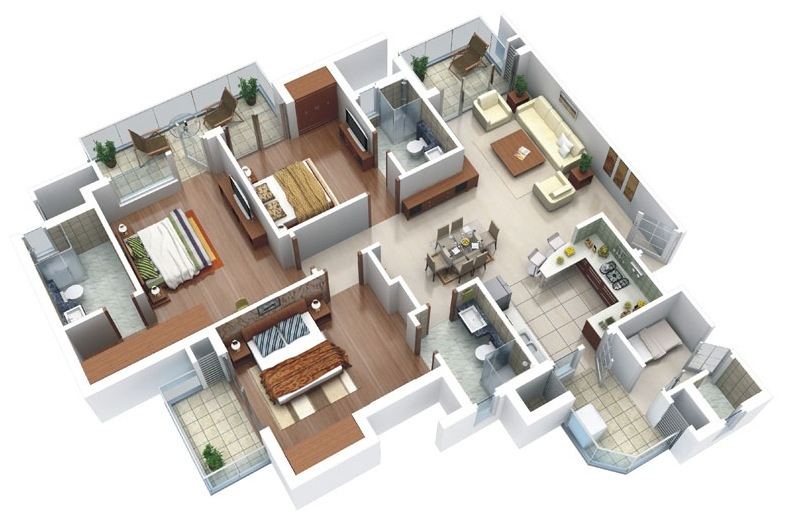 25 Three Bedroom House\/Apartment Floor Plans - 3 bedroom house plans