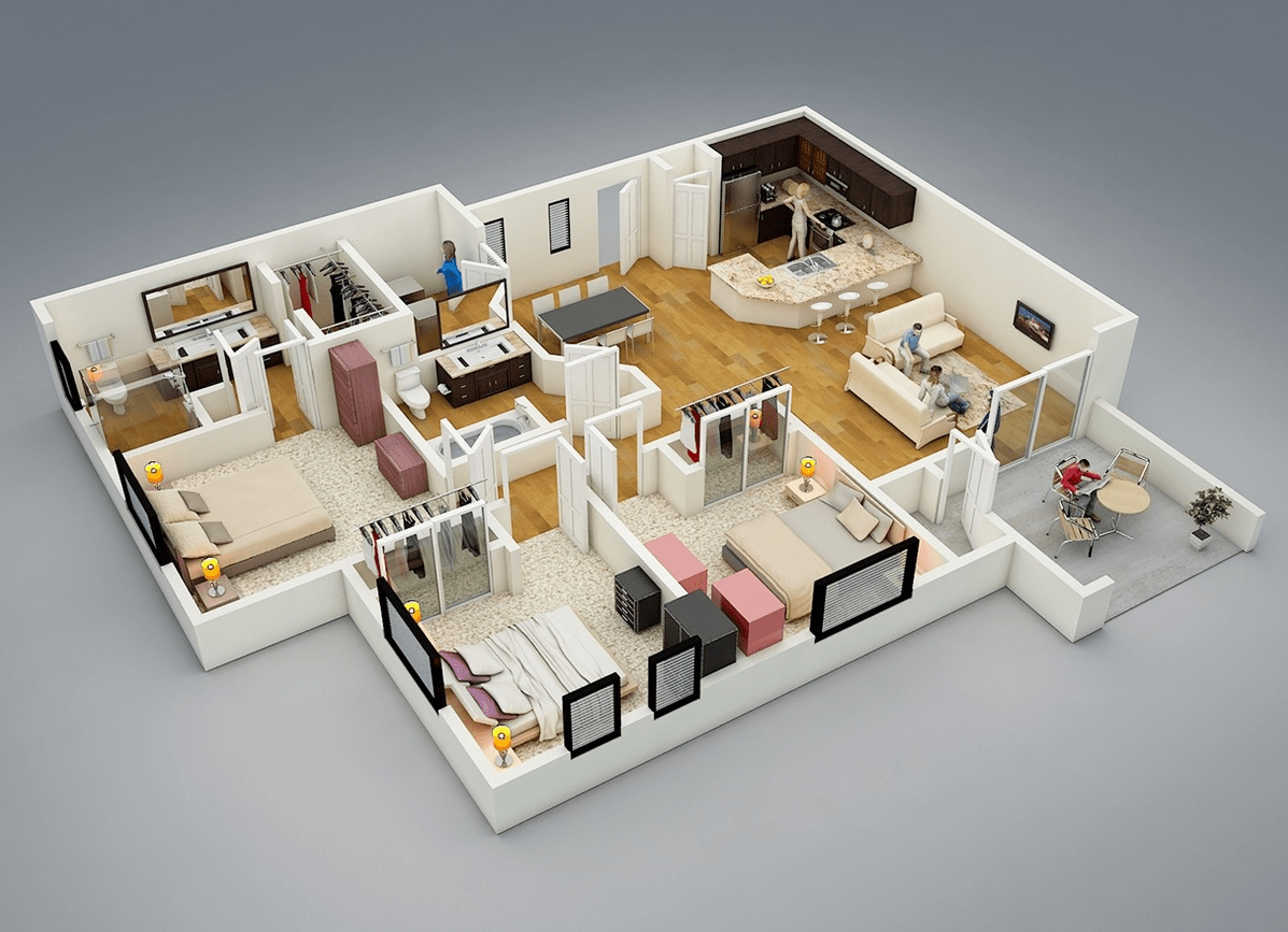3d Planer 25 More 3 Bedroom 3d Floor Plans