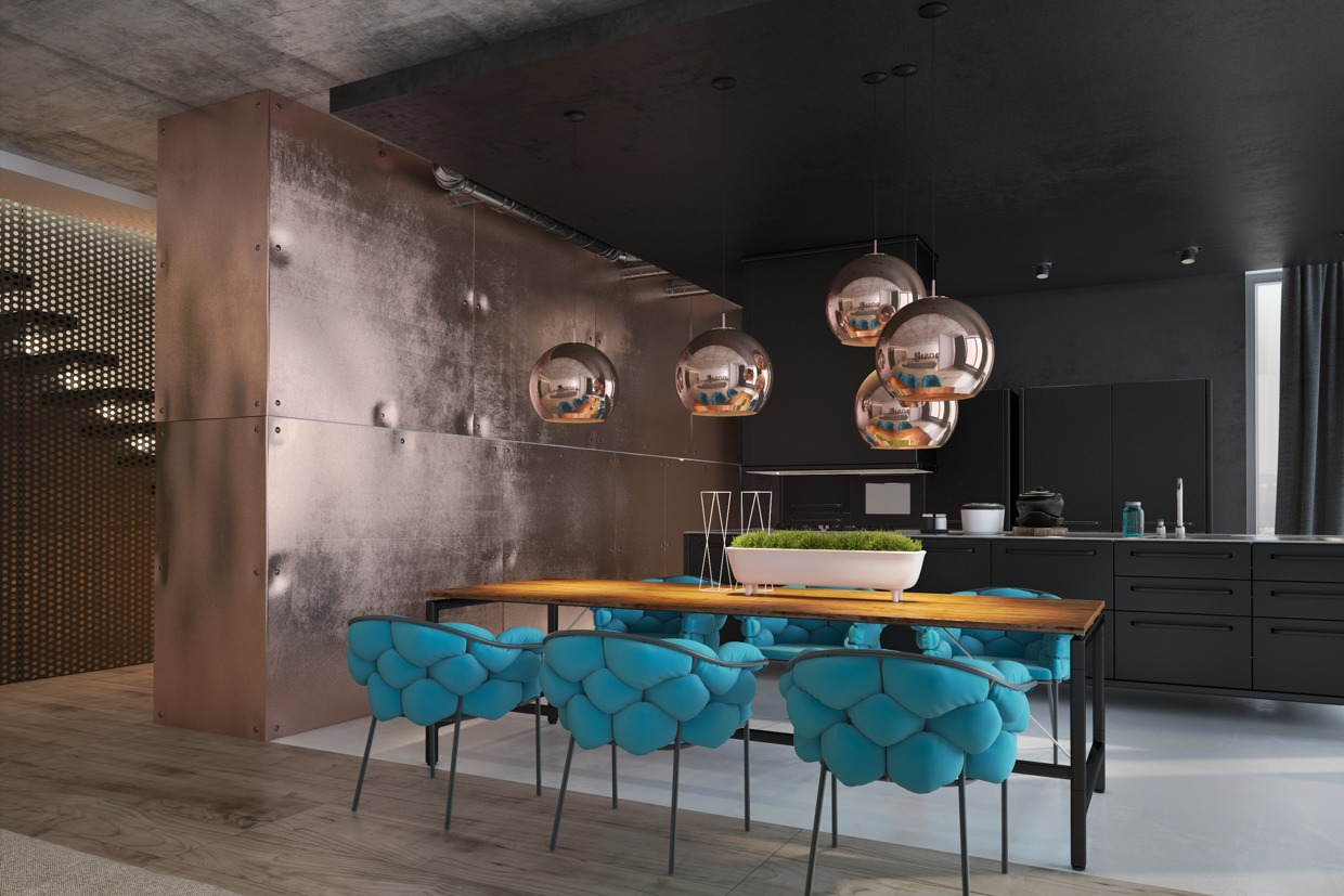 Copper Accent Wall Accentuate The Positive In Two Artful Apartments