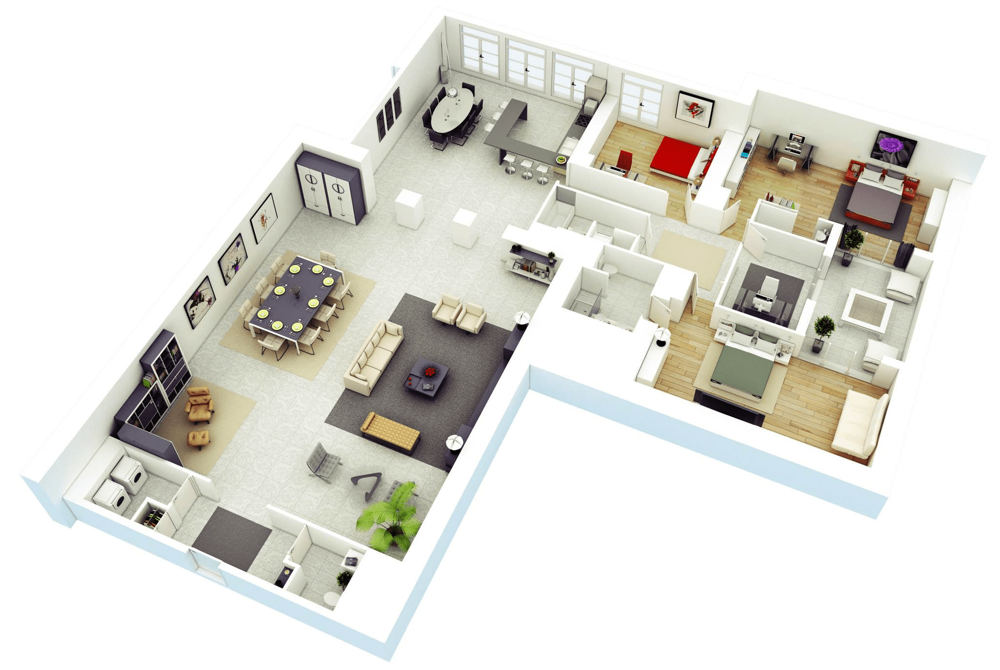 3d Home 25 More 3 Bedroom 3d Floor Plans