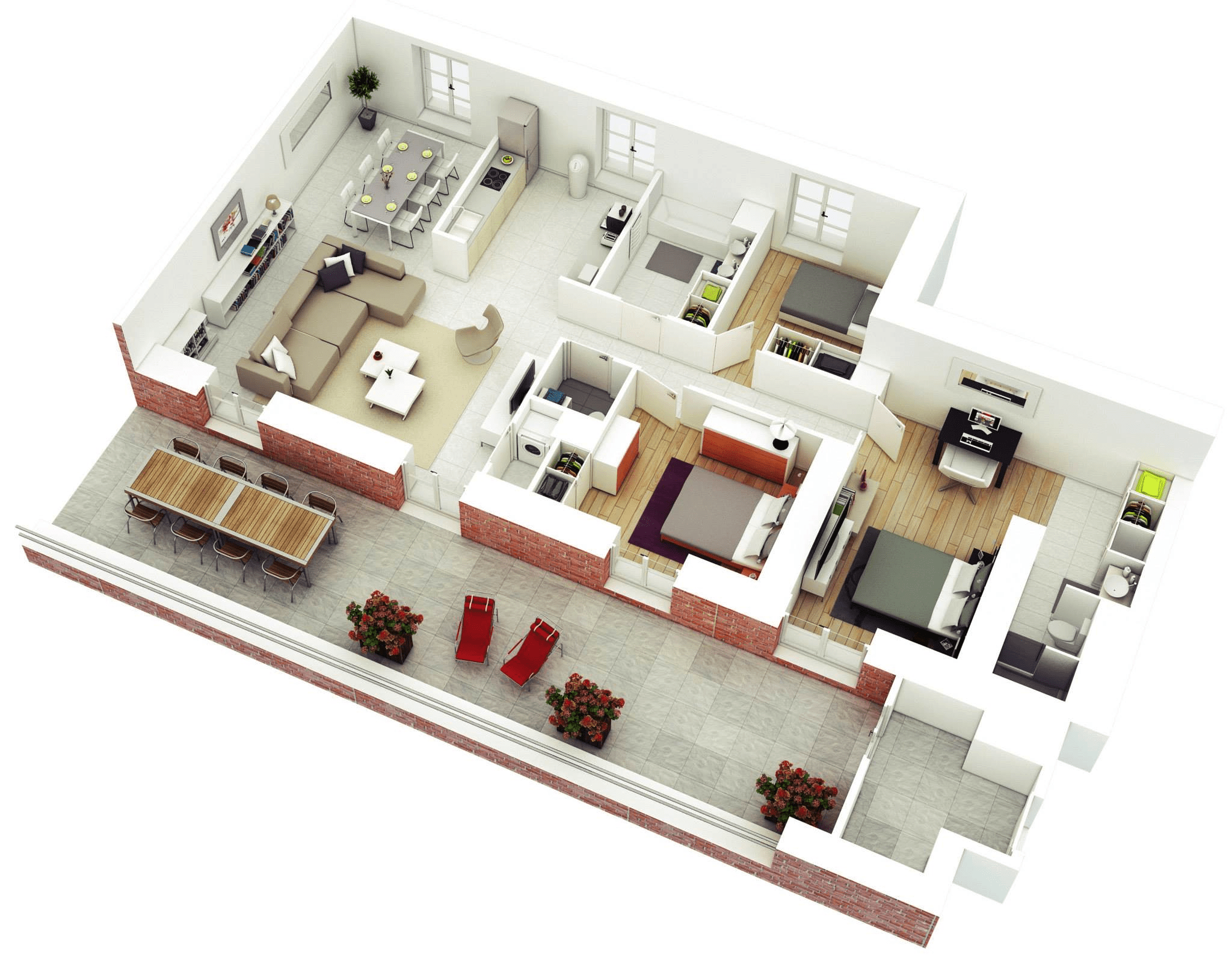 3d House Design Free 25 More 3 Bedroom 3d Floor Plans