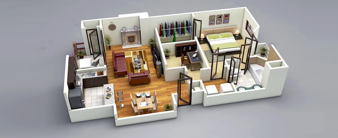 25 One Bedroom House\/Apartment Plans - 3d house plans