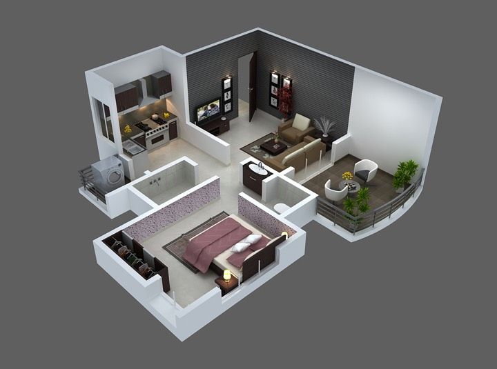 25 One Bedroom House\/Apartment Plans - one bedroom house plans